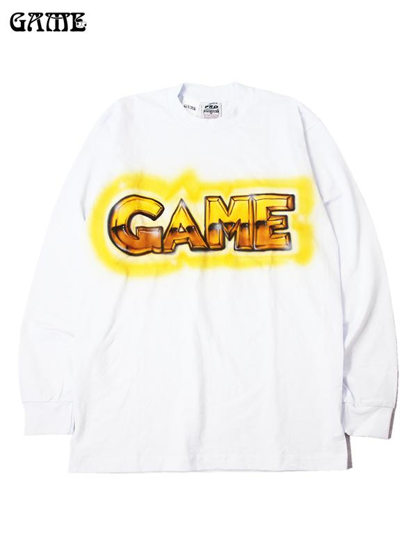 GAME ORIGINAL ゲーム オリジナル ロングスリーブ Tシャツ ホワイト/イエロー/ゴールド (C) L/S TEE white/yellow/gold