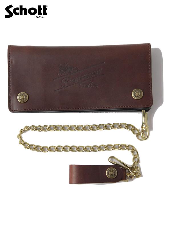 【あす楽対応】【送料無料】Schott (ショット) / PERFECTO WALLET 055 brown パーフェクトウォレット 長財布 ブラウン 茶色