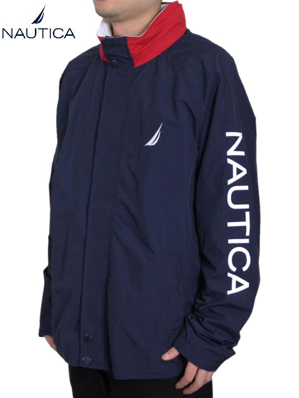 【インポート】NAUTICA ノーティカ ナイロンジャケット ライトアウター フード 紺 ネイビー NYLON JACKET navy