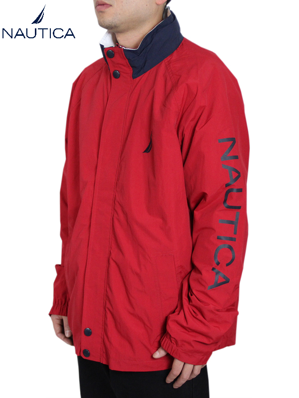 【インポート】NAUTICA ノーティカ ナイロンジャケット ライトアウター フード 赤 レッド NYLON JACKET red