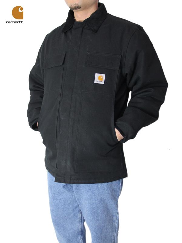 【US買い付け正規品/即納】Carhartt カーハート ワークコート/カバーオール フード付き ジャケット ダックキャンバス キルティング 黒 ブラック DUCK TRADITIONAL COAT / ARCTIC QUILT LINED JACKET black (HOODSET)