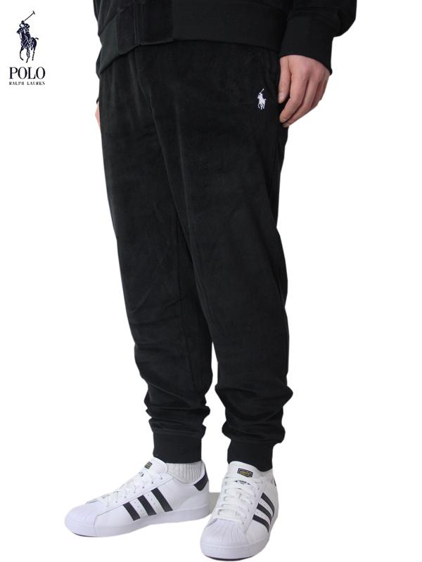 【インポート正規品】【送料無料】POLO Ralph Lauren ポロ ラルフローレン ベロア ジャージ パンツ 黒 ブラック VELOUR JERSEY PANTS black