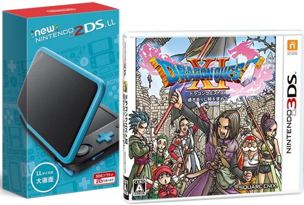 クリスマス包装できます。★即日発送分 おまけ付★[Newニンテンドー2DS LL ブラック×ターコイズ+ドラゴンクエストXI 過ぎ去りし時を求めて 3DS版 セット