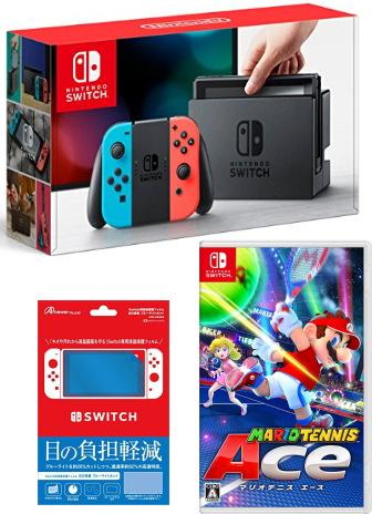 おまけ付 新品Nintendo Switch Joy-Con (L) ネオンブルー/ (R) ネオンレッド+マリオテニスエース