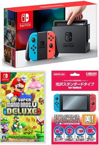 【当社ギフト商品】★ おまけ付★新品 Nintendo Switch 本体 (ニンテンドースイッチ) 【Joy-Con (L) ネオンブルー/(R) ネオンレッド】 +New スーパーマリオブラザーズ U デラックス