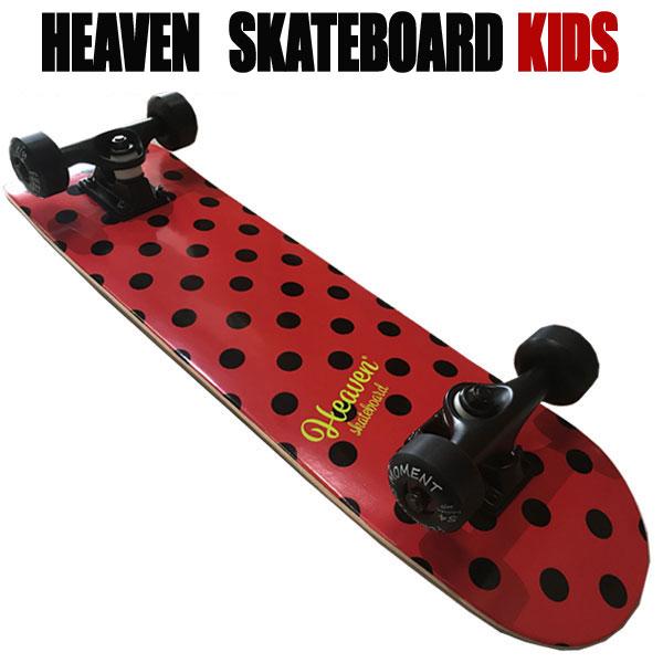 ヘブン 子ども用 ハイスペック コンプリート スケートボード ドットレッド 27.5×7 選び抜かれた高品質のスケボー