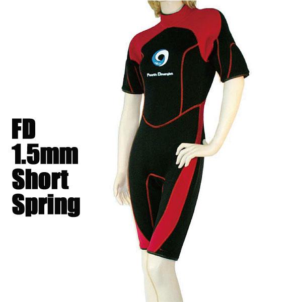 Fourth Dimension ウェットスーツ レディース ショートスプリング1.5mm BLKRED