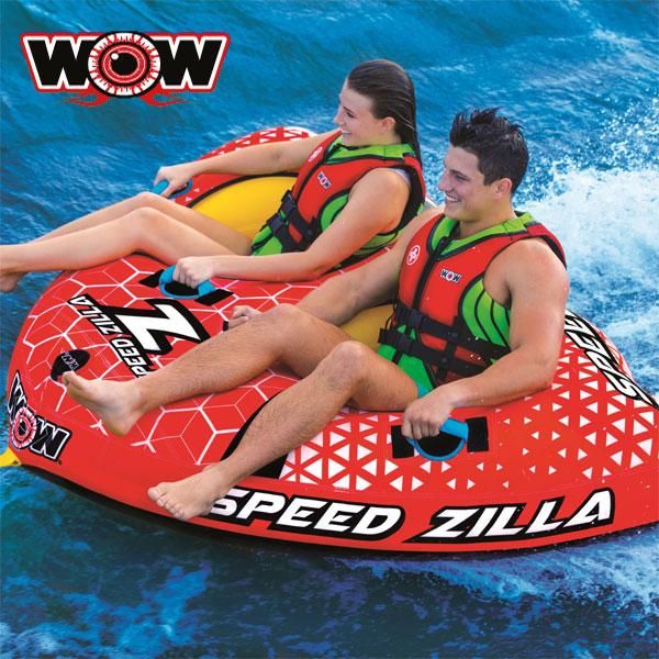 WOW(ワオ) スピードジラ 2人乗り トーイングチューブ ジェットやボートで引っ張って大迫力