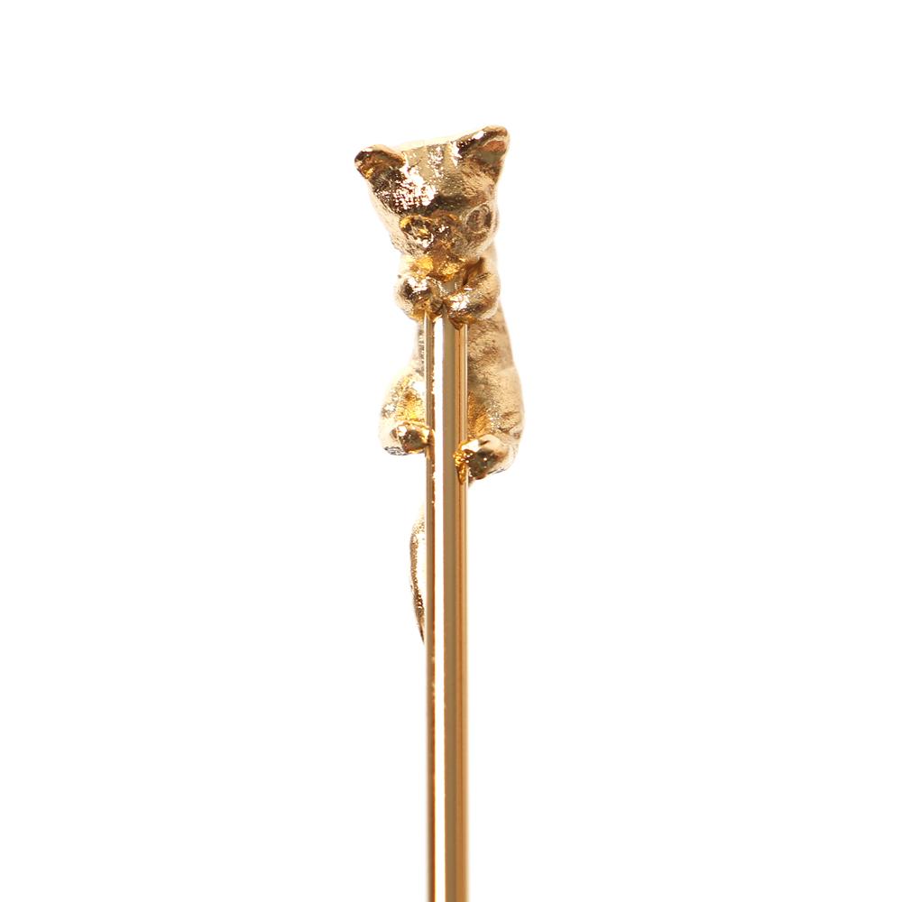 小さな猫がよじ登る姿がキュート ゴールド 贈答品 猫マドラー 予約販売品 1本 ダイキャスト 子猫 ねこ メール便 ネコ 選択可