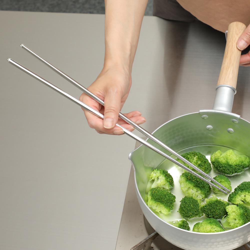 ランキングTOP10 情熱セール 衛生的なオールステンレス ステンレス菜箸 取り箸