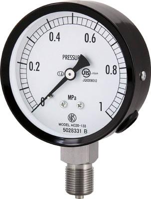 [ステンレス圧力計]長野計器(株) 長野 普通形圧力計(A枠立形・φ75・G3/8B・0.0~0.40Mpa) AC20-133-0.4MP 1個【498-4439】