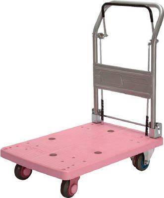 [樹脂製運搬車](株)カナツー カナツー 静音プラ 150 ドラムブレーキ付 折畳式 ピンク PLA150-DX-DB-P 1台【792-1250】【代引不可商品】【別途運賃必要なためご連絡いたします。】