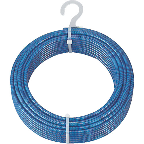 [ワイヤロープ]トラスコ中山(株) TRUSCO メッキ付ワイヤーロープ PVC被覆タイプ Φ6(8)mmX50m CWP6S50 1本【856-0810】
