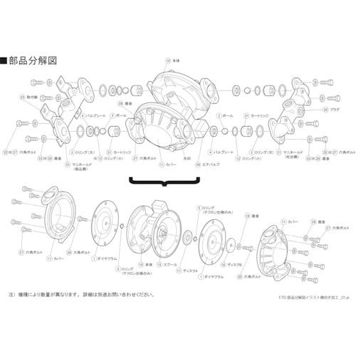 [ダイヤフラムポンプ](株)TAIYO TAIYO TD-08AN用ダイヤフラム TD08AN001 1個【828-9145】