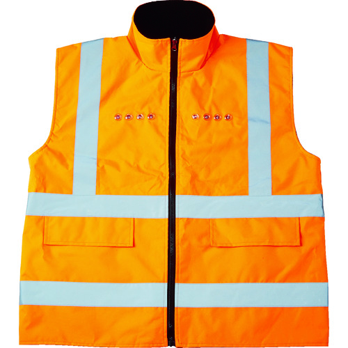 [安全ベスト]トラスコ中山(株) TRUSCO フリース付安全ベスト LED付 オレンジ TFABL-O 1着【116-0807】