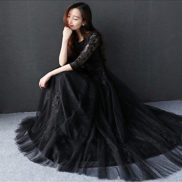 ロングドレス 演奏会 パーティードレス 結婚式 ドレス 袖あり ウェディングドレス パーティー 二次会ドレス 発表会 忘年会 お呼ばれ