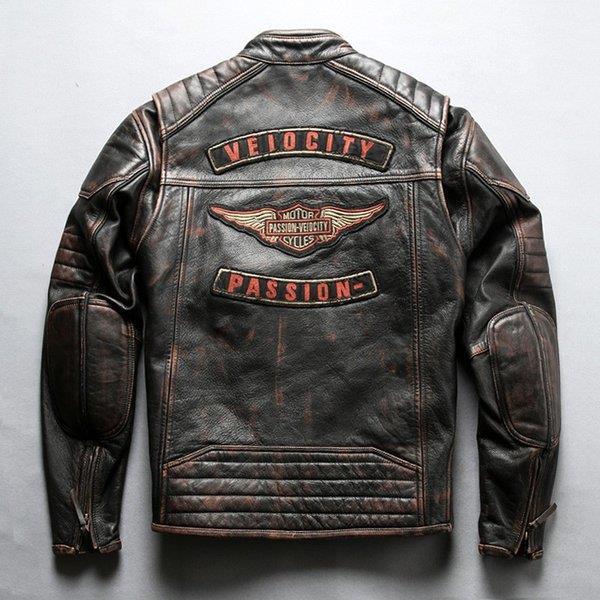 本革ジャケット レザージャケット 革ジャン 牛革 ライダースジャケット 本革バイクジャケット 復古 ヴィンテージ ユーズド加工 メンズ 送料無料