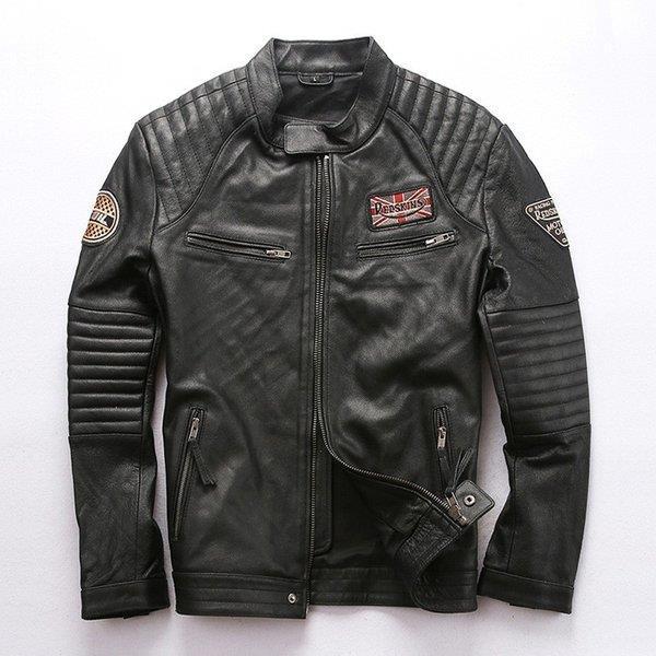 本革ジャケット ライダースジャケット 本革 立ち襟 牛革 刺繍 レザージャケット 革ジャン メンズ セール 送料無料