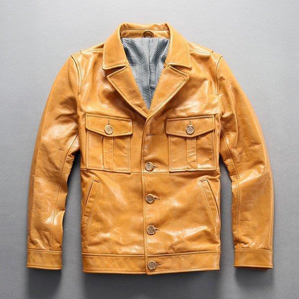 牛革ジャケット 本革バイクジャケット 牛革 ライダースジャケット 折り襟 革ジャケット 春秋 革ジャン レザージャケット 黄色 メンズ 送料無料