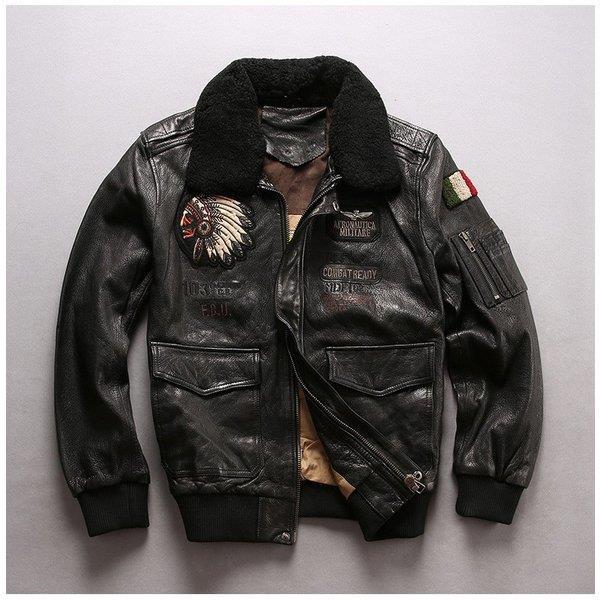 フライトジャケット ラム革ジャケット ウールファー 本革ジャケット 羊革 レザージャケット インディアン刺繍 折り襟 革ジャン メンズ 送料無料