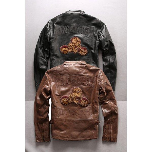 牛革ジャケット 本革バイクジャケット 牛革 ライダースジャケット 刺繍 革ジャケット 秋冬 革ジャン レザージャケット メンズ 送料無料