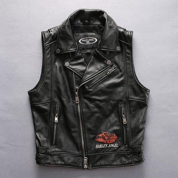 レザーベスト 革ベスト パンク風 牛革バイクジャケット バイクウエアのペアルック ライダースベスト バイクウェア メンズ&レディース お洒落 ファッション 送料無料