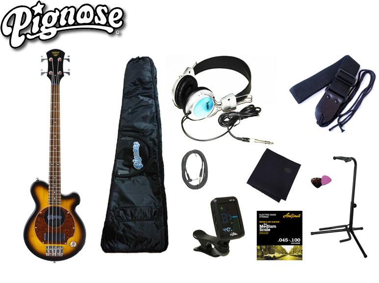 アンプ内蔵コンパクトなエレキベースギター大満足10点セット!/Pignos(ピグノーズ)PGB-200 BS=Brown Sunburst+小物9点【送料無料】【smtb-KD】:-as-p2
