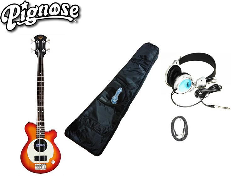 アンプ内蔵コンパクトなエレキベースギターお手軽4点セット!/Pignos(ピグノーズ)PGB-200 CS=Cherry Sunburst+小物3点【送料無料】【smtb-KD】:-as-p2
