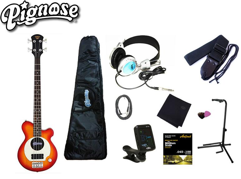アンプ内蔵コンパクトなエレキベースギター大満足10点セット!/Pignos(ピグノーズ)PGB-200 CS=Cherry Sunburst+小物9点【送料無料】【smtb-KD】:-as-p2