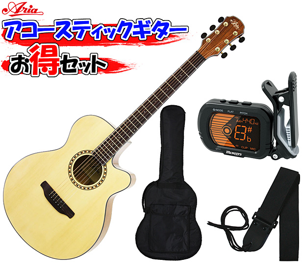 ARIA(アリア) アコースティックギター/お気軽4点セット「TG-1 N:ナチュラル+小物3点」 TG1【送料無料】【smtb-KD】:-soku-p2