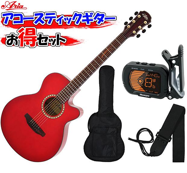 ARIA(アリア) アコースティックギター/お気軽4点セット「TG-1 SR:シースルーレッド+小物3点」 TG1【送料無料】【smtb-KD】:-soku-p2