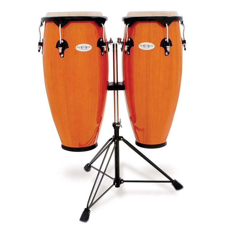 TOCA(トカ) Toca Products Congas SYNERGY SERIES Synergy Wood Conga Set with Stand 2300AMB Synergy 10+11inch w/Double Stand-Amber☆コンガ スタンダード アンバー Percussion パーカッション 2300-AMB【smtb-KD】:-p2