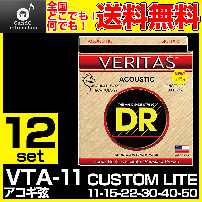 【12セット売り】 DR STRINGS VTA-11/VERITASシリーズ 11-50/ディーアール・アコースティックギター弦 VTA11 【送料無料】【smtb-KD】:-p5