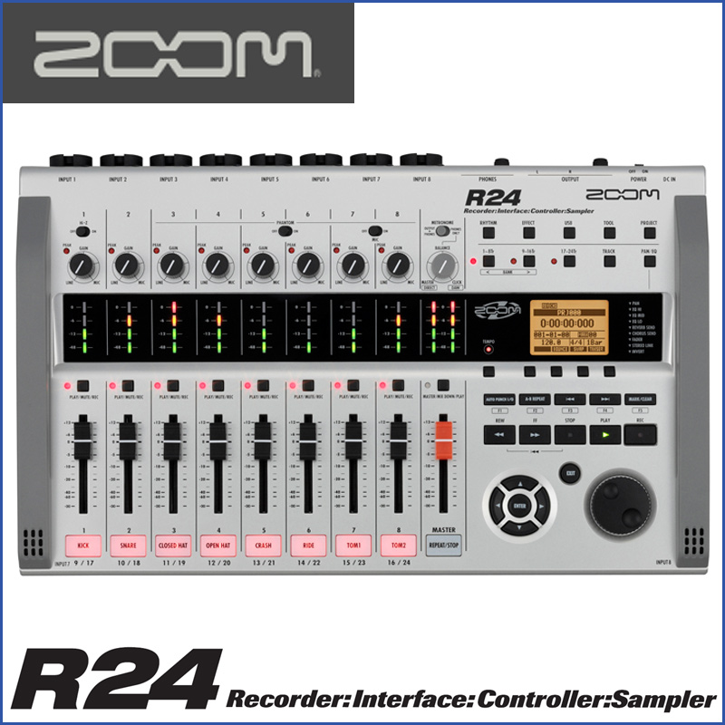 ZOOM(ズーム) R24 Recorder:Interface:Controller: Sampler 24トラックMTRとして、オーディオI/Fとして、DAWコントローラーとして モチーフのスケッチから作曲まで幅広くサポート。【送料無料】【smtb-KD】:-p5