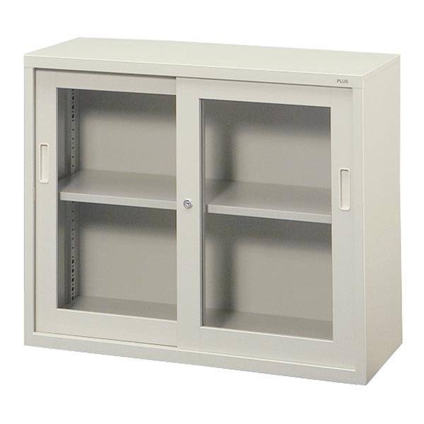 【書庫 】PLUS保管庫 A4対応 スチール書庫 ガラス 上置き用 18405 PLUS SG-302FR W880・D400・H730 組立・設置迄(代引決済不可商品)