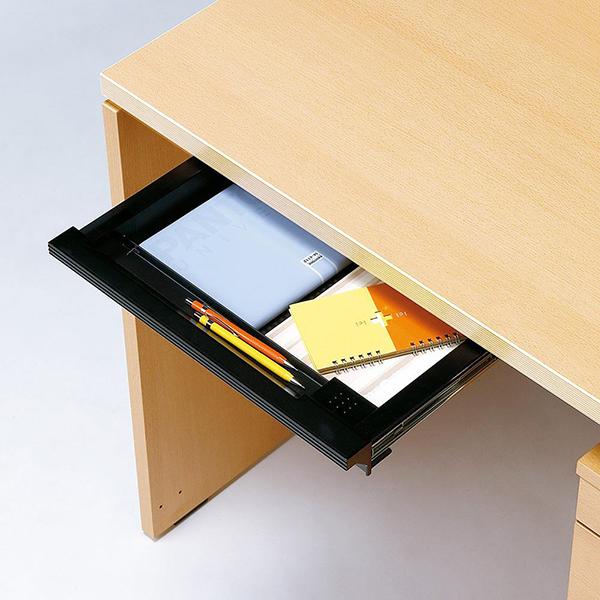 Garage センター引出 鍵付き W396×D335 黒 GF-A4TH-K A4トレー引出 デスク パソコンデスク オフィスデスク 木製 シンプル 415050