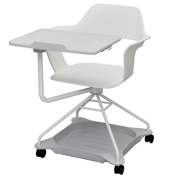 【事業所様お届け 限定商品】 New MUSAチェア ホワイト RFC-MUSA-WH 可動式テーブル ストレージトレー付き キャスター付 アクティブラーニング 会議椅子 オフィスチェア (代引決済不可商品)