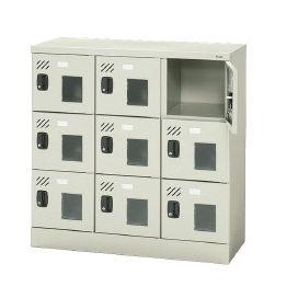 PLUS 9人用スクールロッカー シリンダー錠、窓付きタイプ シューズロッカー 設置迄無料 北海道も (代引決済不可商品)