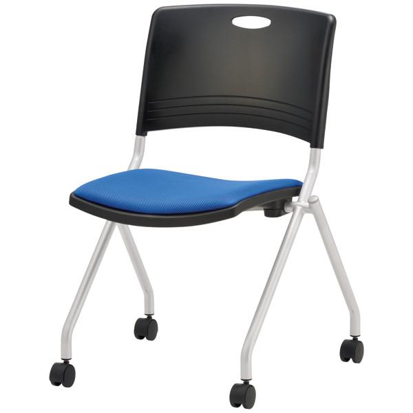 ミーティングチェア 4脚なら更に↓ 折り畳み椅子取っ手付 スタッキングチェア キャスター付き TOKIO FNC-K5 ブルー (代引決済不可商品)