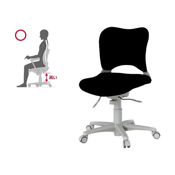 腰痛防止の事務イス ローバック フローリング床仕様 パソコンチェア 黒Garage 410245