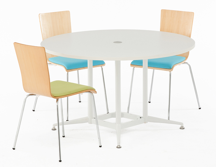 応接セット 円形テーブル/OA丸テーブルと椅子4脚セット(ホワイト) RFRDT-OA1200W 1200mm (代引決済不可商品)