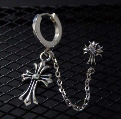 メンズピアス Silver925 ゴシッククロスフープチェーンダブルピアス メンズ ピアス シルバーアクセサリー