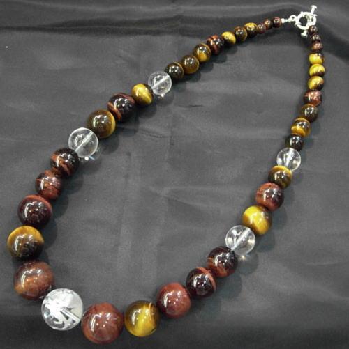 【送料無料】Silver925×ストーン四神彫り水晶タイガー数珠ネックレス20ミリの四神彫り水晶使用オラオラ系マスト!