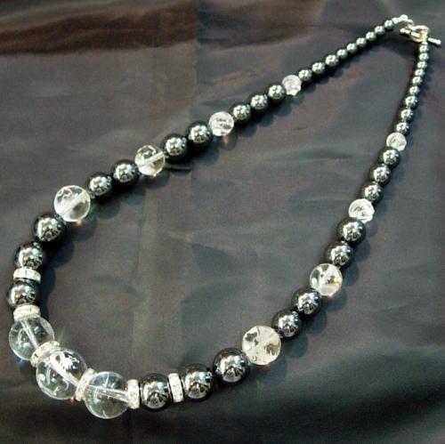【送料無料】Silver925×ストーン四神彫り水晶×ヘマタイト数珠ネックレス20mmの大迫力オラオラ系マスト!