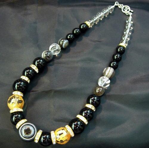 【送料無料】Silver925×ストーン天眼石双龍金彫りオニキス×水晶数珠ネックレス18mmの天眼石使用オラオラ系マスト!