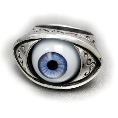シルバーリング リアルアイ ドールアイ 目玉 目玉リング 送料無料 メンズ 指輪 ブルーアイ Silver925 リング