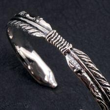 Silver925ダブルフェザーバングル/シルバーバングル ブレスレット メンズ バングル フェザー イーグル バッファロー サン ネイティブ インディアン シルバー925 送料無料