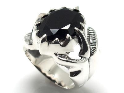 シルバー925クローブラックキュービックリングメンズ シルバー925 リング 指輪