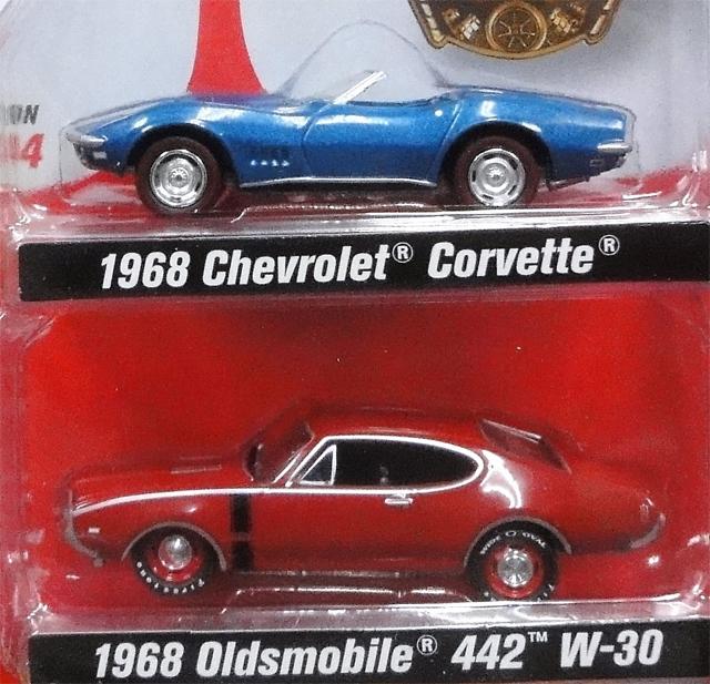 JOHNNY LIGHTNING CLASS OF 1968 1968 Chevrolet Corvette&1968 Oldsmobile 442  W-30 ミニカー ジョニーライトニング|ブロンコランチ