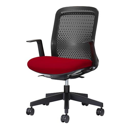 PLUS プラス Try トライ パソコンチェア PCチェア オフィスチェア ワークチェア ビジネスチェア メッシュチェア メッシュチェアー フィット メッシュ フィット 放熱 チェア チェアー 椅子 いす イス ローバック 肘付き レッド 赤 KB-TR60SEL